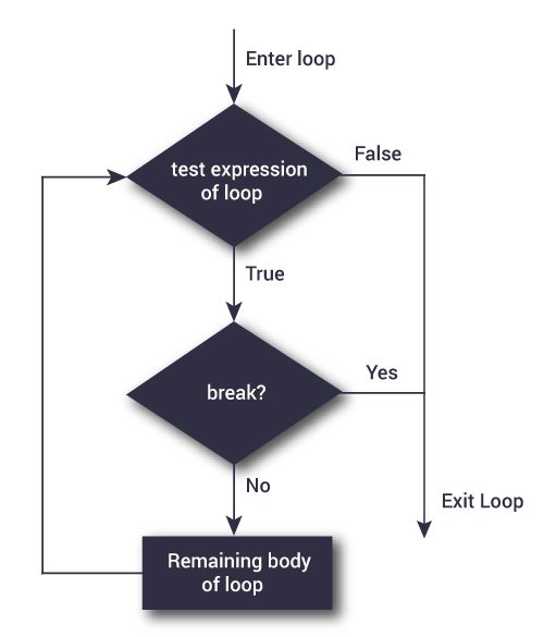 Flowchart of break statement in Python