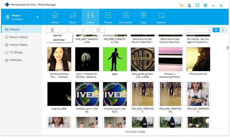 import videos to iphone using Dr.Fone