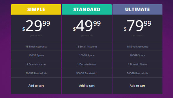 Demo Image: Pricing Tables