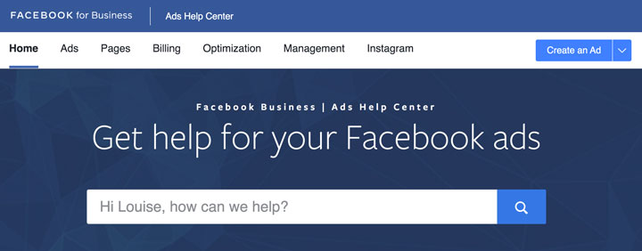 Facebook business help page