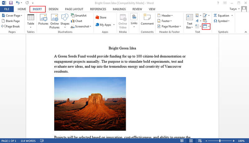 how to insert pdf into word doc
