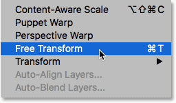 Selecting the Free Transform command in Photoshop