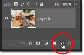 Adding a new layer below the image to create a clipping mask