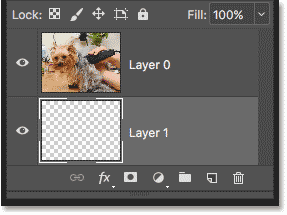 The second layer needed for the clipping mask has been added to the document in Photoshop
