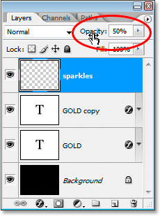 Lower the opacity of the sparkles layer