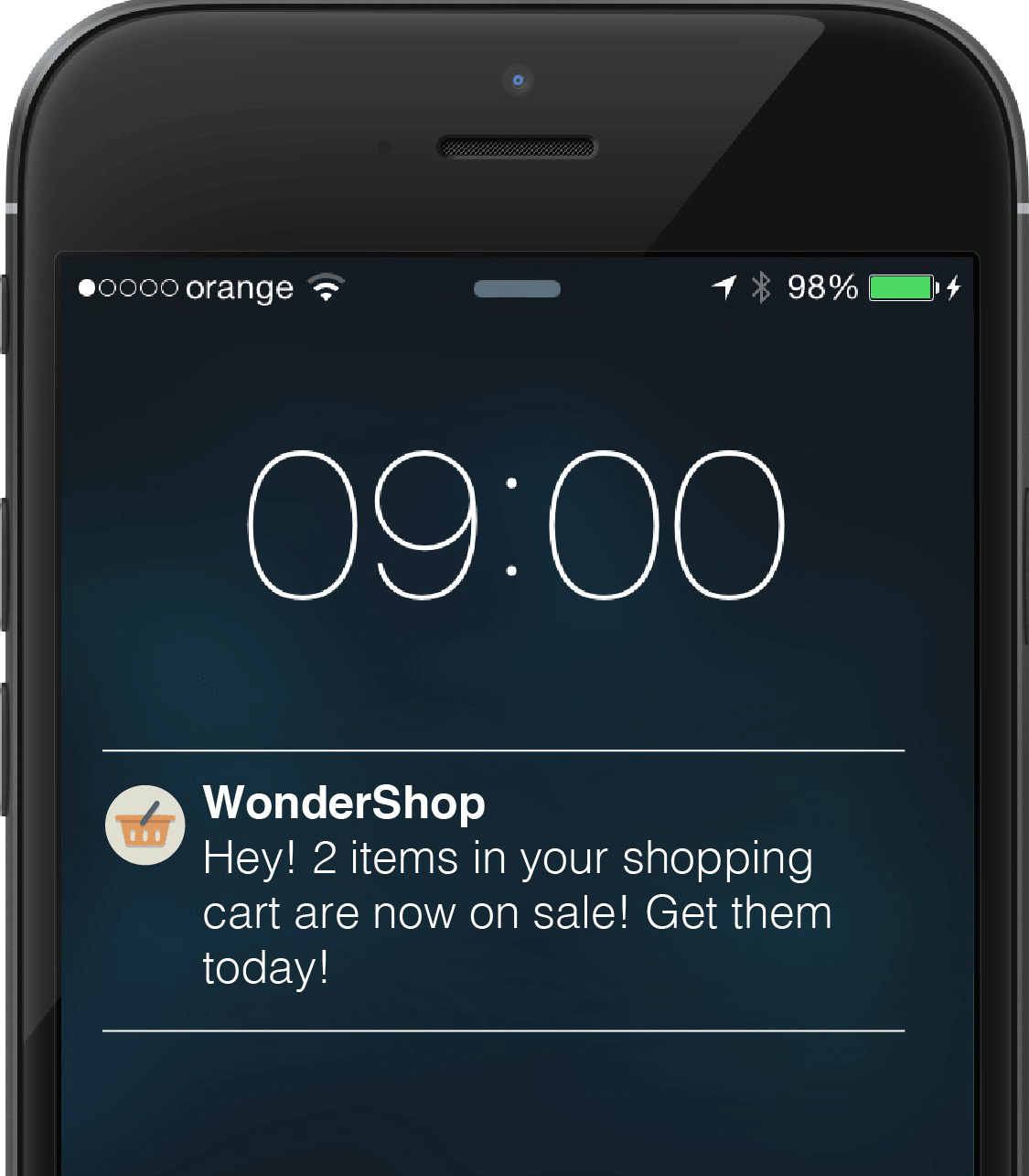 In-app push notification example